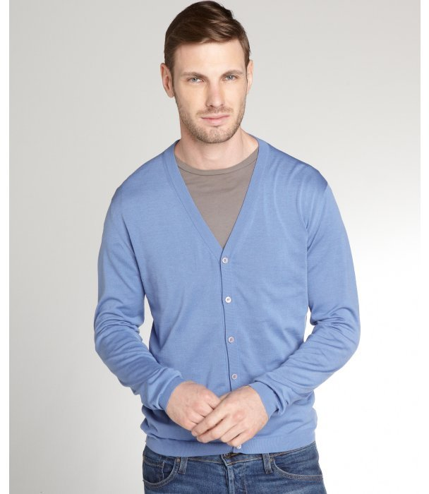 Prada Sky Blue Cotton V Neck Cardigan | Where to buy & how to wear