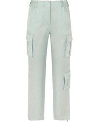 Off-White Satin Jacquard Straight Leg Pants
