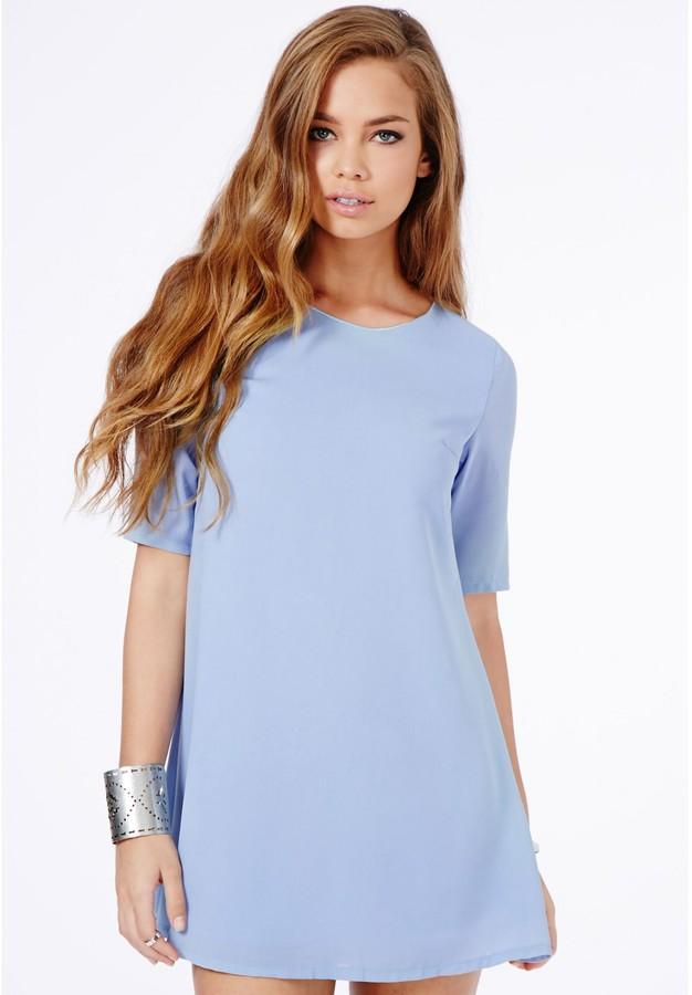 Light Blue Casual Dress: Missguided Ponika Swing Shift ...