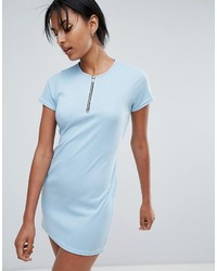 Daisy Street T Shirt Dress With Tie Waist And Zip Front
