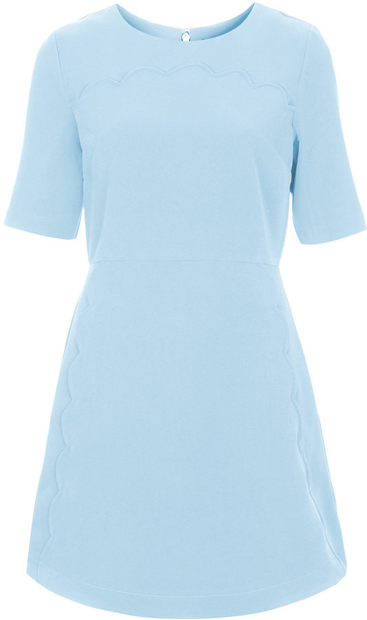 Topshop Thick Woven Shift Dress With Playful Scallop Trim Edges To The Front Nips In At The Waist With A Zip Back Fastening Length 86cm 94% Polyester 6% Elastane Machine Washable