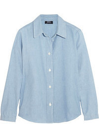 Light Blue Chambray Button Down Blouse