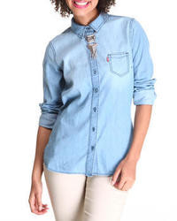 Levi pearl chambray shirt medium 18698