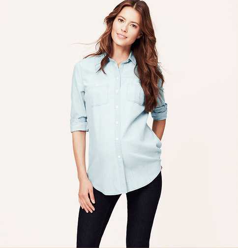 Light blue chambray button down blouse loft maternity for Light blue button down shirt