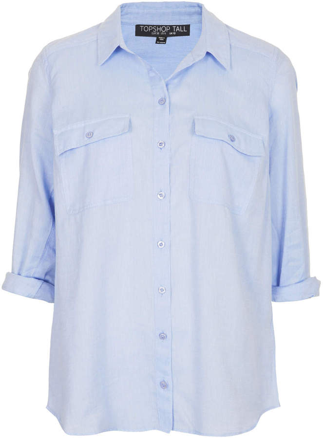 251196f59e Soft Casual Chambray Shirt With Two Button Down Chest Pockets 100% Cotton  Machine Washable