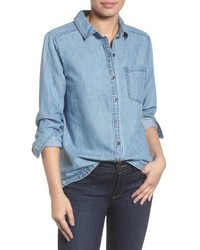 Caslon Button Front Chambray Shirt