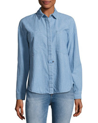 Derek Lam 10 Crosby Hidden Placket Chambray Shirt Light Blue