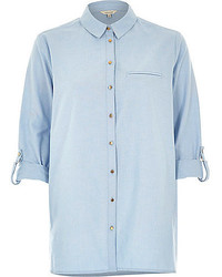 River Island Light Blue Chambray Rolled Cuff Shirt