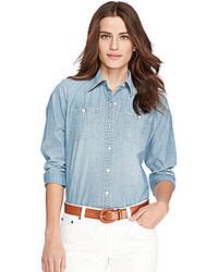 Lauren Ralph Lauren Long Sleeve Chambray Denim Shirt