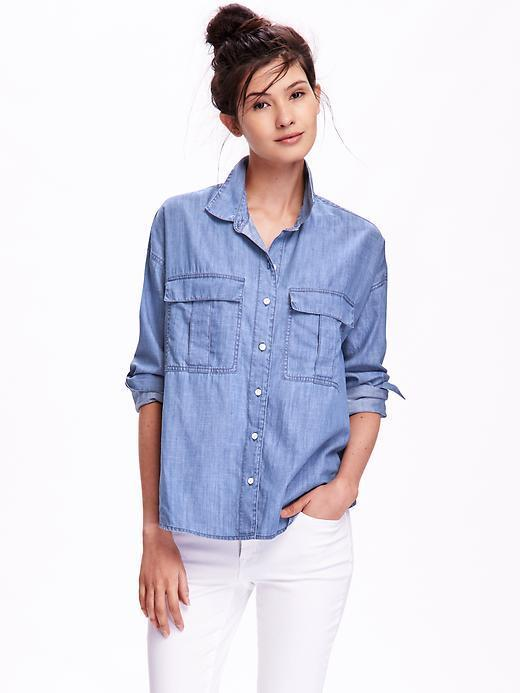 Old navy boyfriend chambray shirt for where to buy how for Blue dress shirt outfit