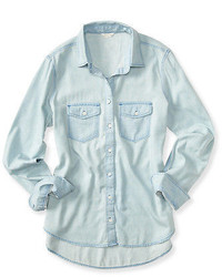 Aeropostale Ropostale Long Sleeve Core Chambray Woven Shirt