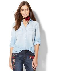 New York & Co. Soho Soft Shirt Ultra Soft Chambray Light Blue