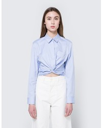 Alexander Wang Twist Front Shirt In Chambray