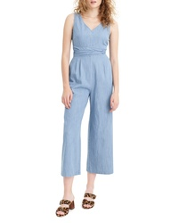 J.Crew Dark Matter Wrap Tie Chambray Jumpsuit