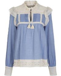 Ny chambray ivory crochet bib blouse medium 3831036