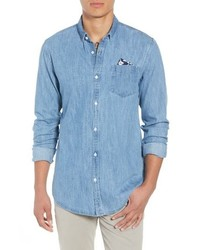 Amsterdams blauw pocket square chambray sport shirt medium 8799522