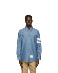 Thom Browne Blue Chambray 4 Bar Straight Fit Shirt