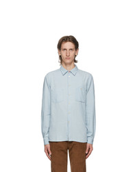 Ps By Paul Smith Blue Cotton And Linen Chambray Tailored Shirt