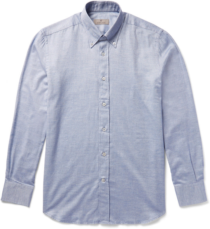 Canali Button Down Collar Cotton Chambray Shirt   Where to buy ...