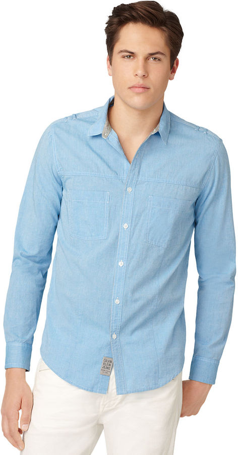 Calvin Klein Jeans Chambray Button Down Shirt | Where to buy & how ...