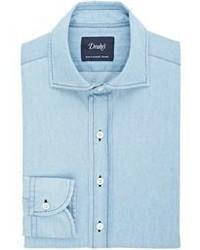 Drakes Drakes Chambray Dress Shirt Blue