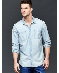 Gap 1969 Icon Worker Bleached Chambray Shirt