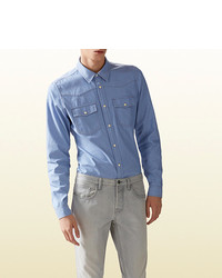 Gucci Light Blue Denim Chambray Shirt