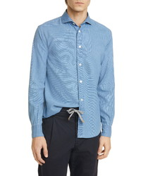 Eleventy Slim Fit Chambray Button Up Shirt