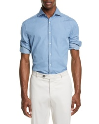 Brunello Cucinelli Slim Fit Chambray Button Up Sport Shirt