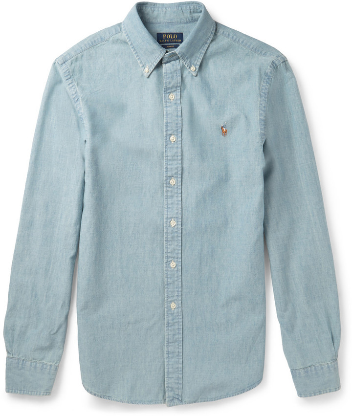 ... Blue Chambray Long Sleeve Shirts Polo Ralph Lauren Slim Fit Washed  Cotton Chambray Shirt