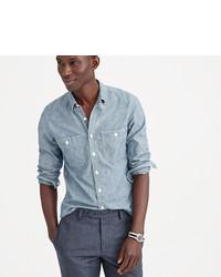 Slim selvedge japanese chambray utility shirt medium 396151