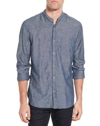 Star usa trim fit chambray band collar sport shirt medium 3760287