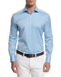 Summer chambray long sleeve sport shirt light blue medium 601222