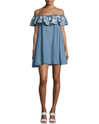 Rebecca Minkoff Dev Chambray Off The Shoulder Dress Light Blue