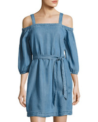 Neiman Marcus Off The Shoulder Tie Waist Dress Blue