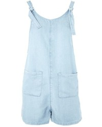 Topshop Moto Knot Tie Chambray Playsuit
