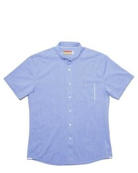 SLVDR Ard Shirt Cotton Chambray Short Sleeve Blue
