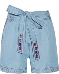 Camilla Belted Embroidered Chambray Shorts
