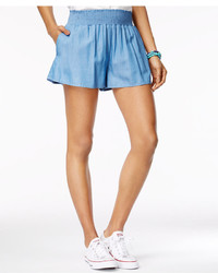 The Edit By Seventeen Juniors Smocked Waist Chambray Soft Shorts Only At Macys