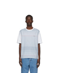 Lanvin White And Blue Checkered T Shirt
