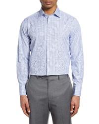 Thomas Pink Check Grid Slim Fit Dress Shirt
