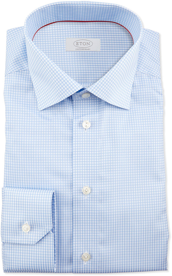 Free Shipping With Mastercard Slim fit Sky Blue Check Shirt Eton Discount View kO0vbb2hd