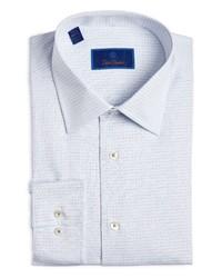 David Donahue Regular Fit Plaid Cotton Dress Shirt