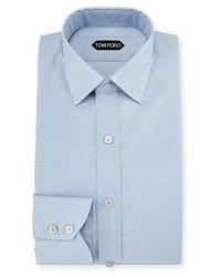 Slim fit micro check barrel cuff dress shirt blue medium 756117