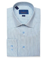 David Donahue Trim Fit Mini Check Dress Shirt