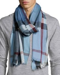 Burberry Lightweight Cashmere Blend Mega Check Scarf Blue