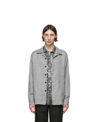 Schnaydermans Blue And Grey Linen Boxy Overshirt Jacket