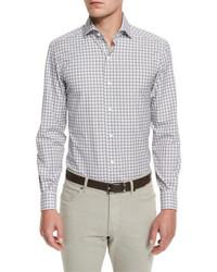 Check long sleeve sport shirt blue pattern medium 699914
