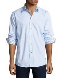 English Laundry Check Print Button Front Sport Shirt Blue