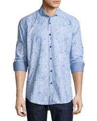 Bogosse Floral Check Long Sleeve Sport Shirt Light Blue